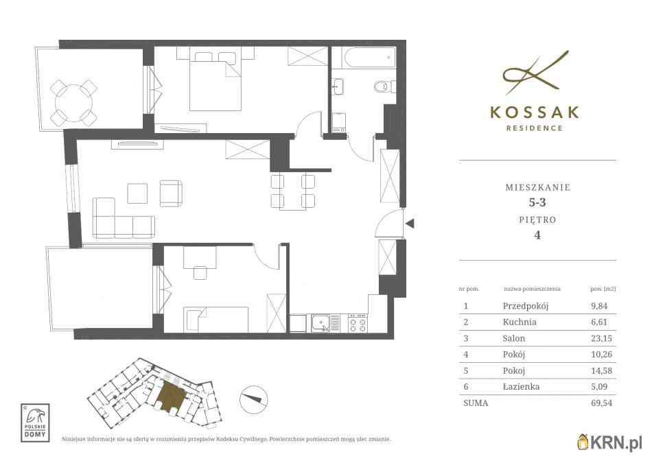 Mieszkanie, 69.54m2, Kraków, mieszkanie na sprzedaż