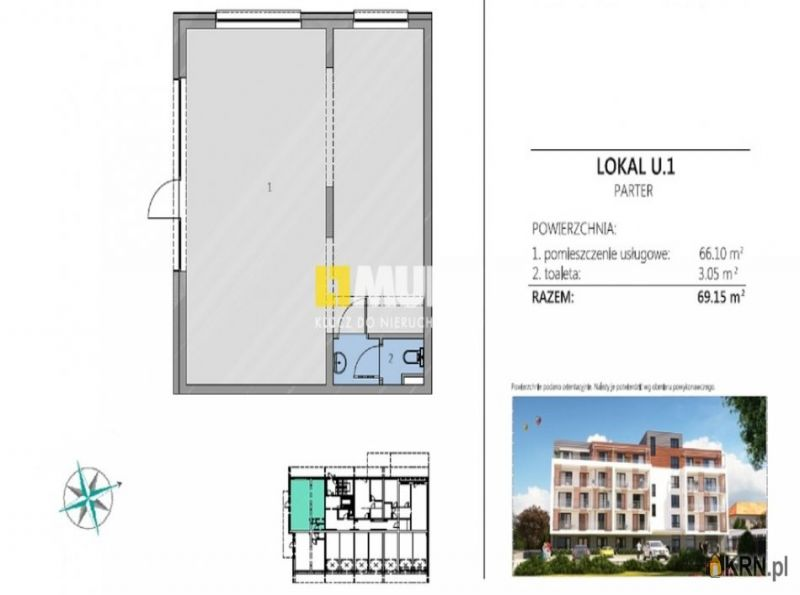 Lokal użytkowy Kołobrzeg 69.15m2, lokal użytkowy na sprzedaż