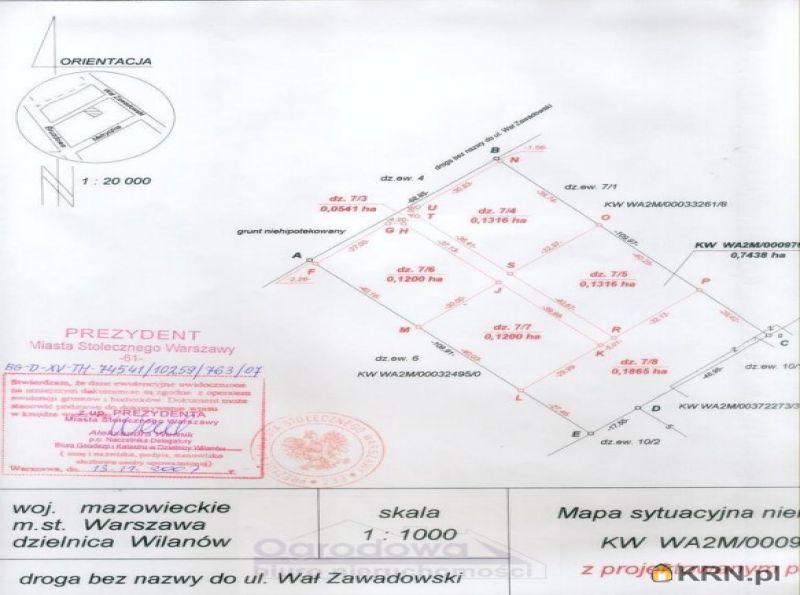 Działka Warszawa 1 865.00m2, działka na sprzedaż